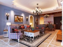 【上城春天里】120平三室二厅美式风格装修效果图